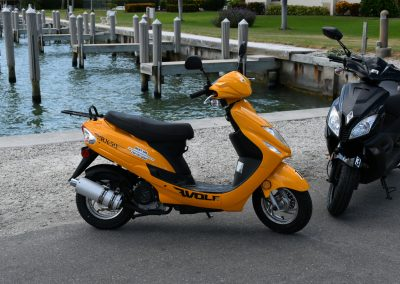 Two scooters parked next to dock on Marco Island