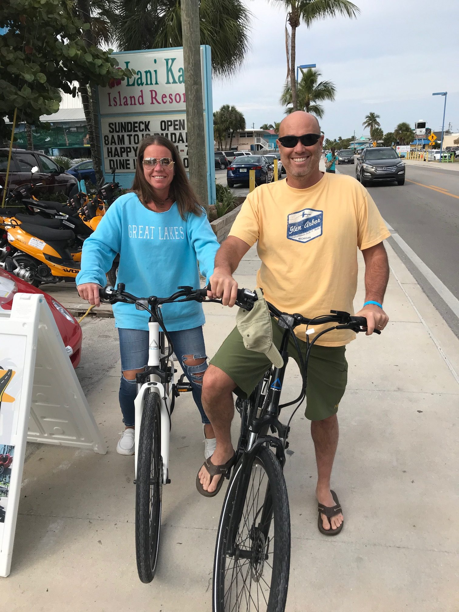 Man and woman on bicycle rentals in Marco Island